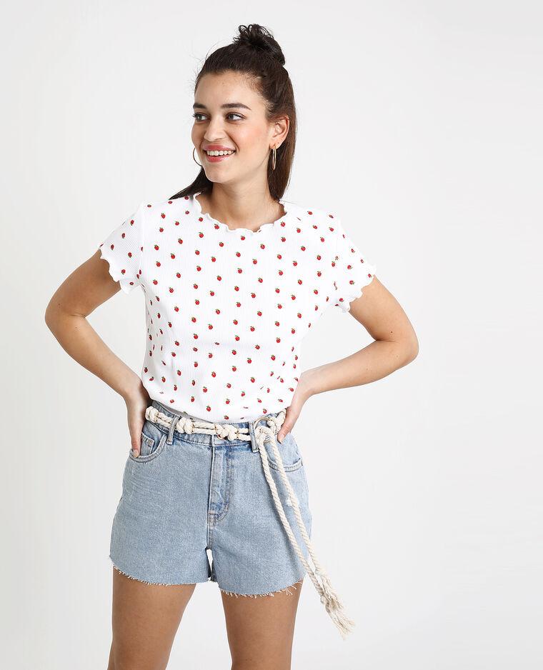 T-shirt con fragole bianco