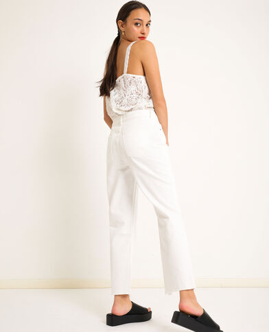 Jeans straight high waist bianco
