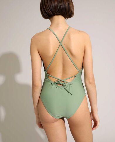 Costume da bagno intero a schiena scoperta con allacciatura verde