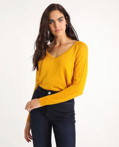 Pull scollo a V giallo