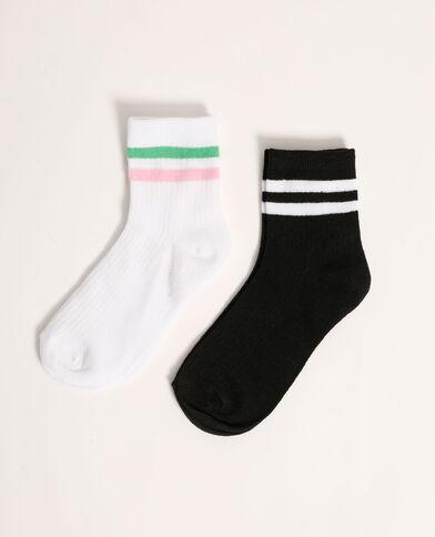 Lotto di 2 paia di calzini a righe bianco - Pimkie