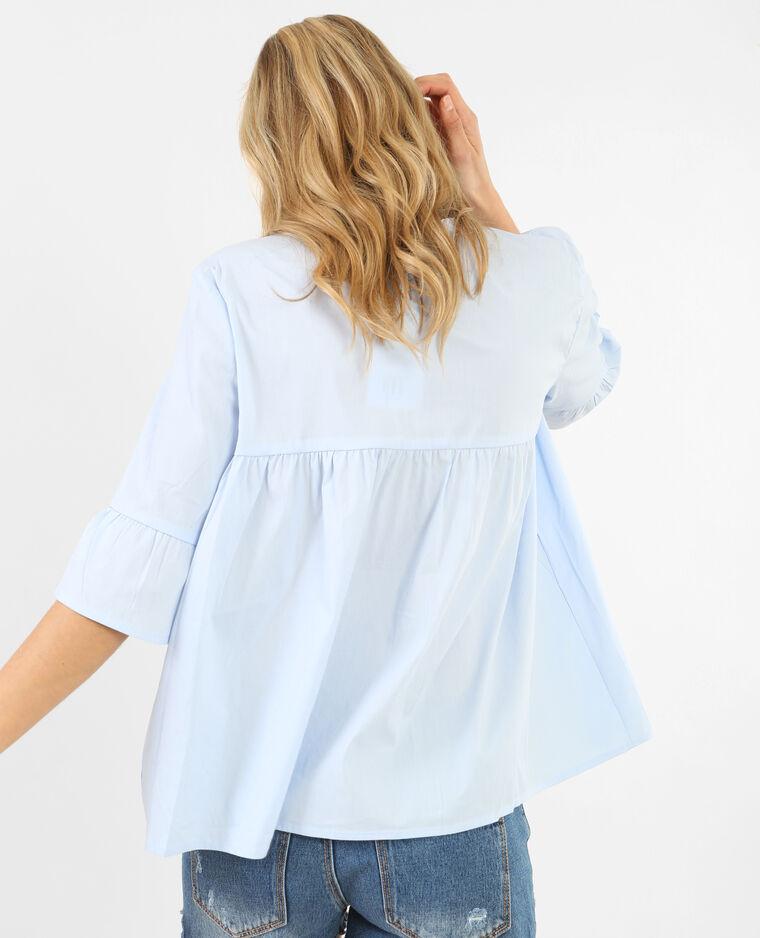 Blusa popeline svasata Bleu