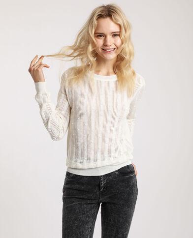 Pull maglia fantasia bianco sporco