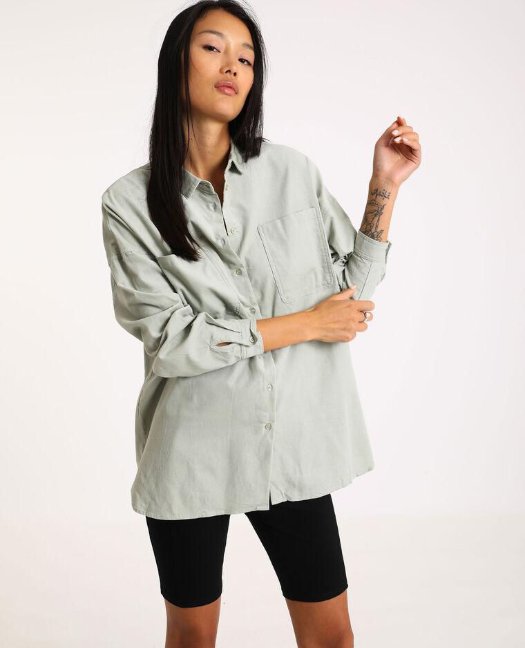 Camicia oversize in velluto a coste verde