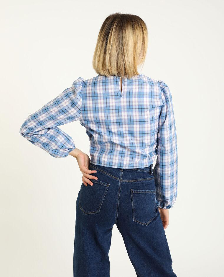 Camicia con arricciature blu