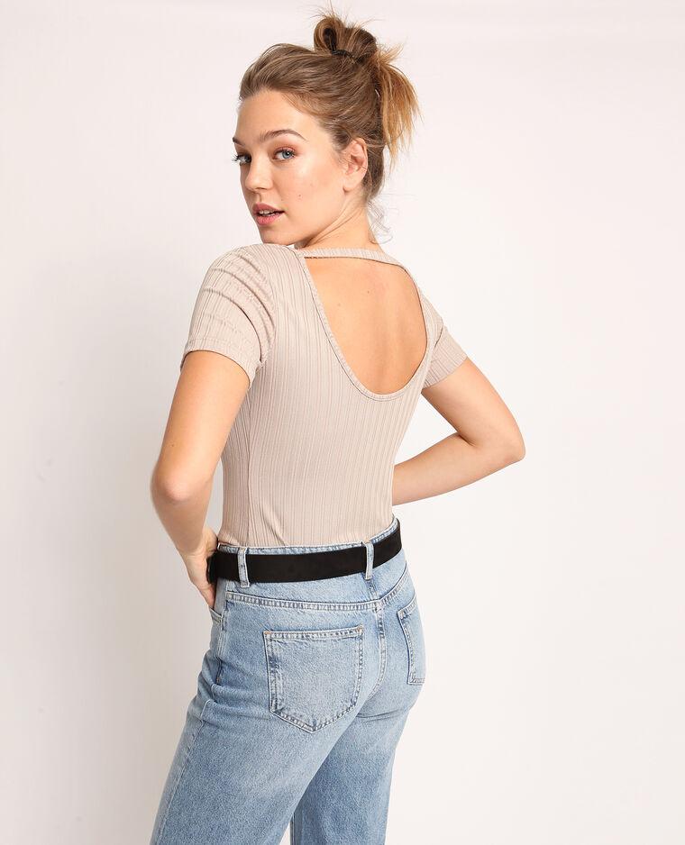 T-shirt aperta dietro Beige