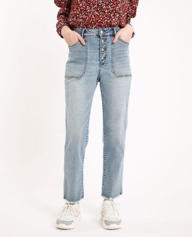 Jeans straight high waist blu delavato