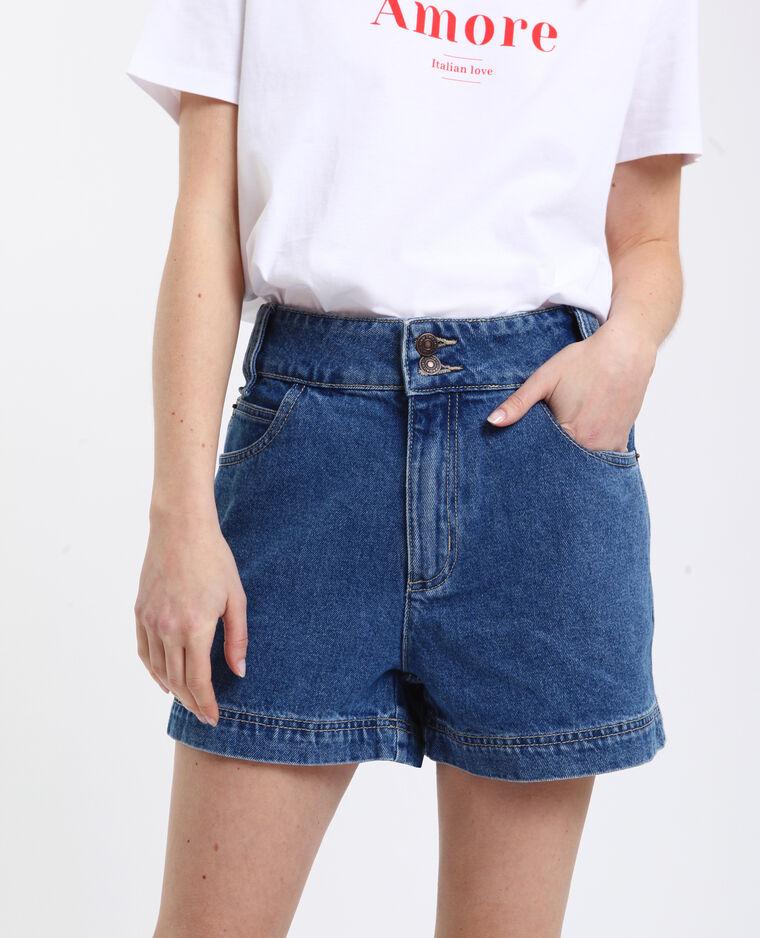 Short in jeans high waist blu grezzo