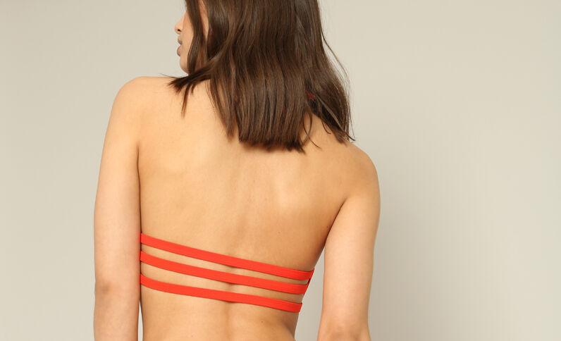 Pezzo sopra di bikini halter crop rosso