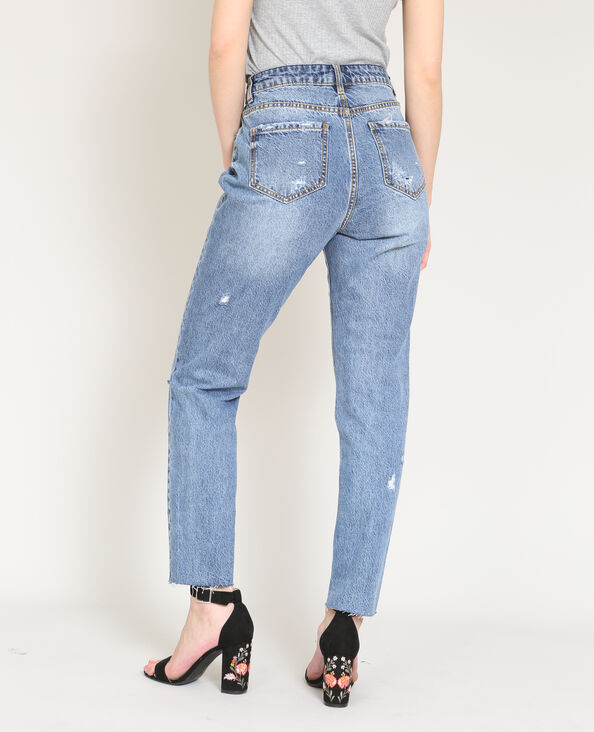 Jeans dritto destroy blu