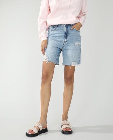 Bermuda di jeans destroy blu delavato - Pimkie