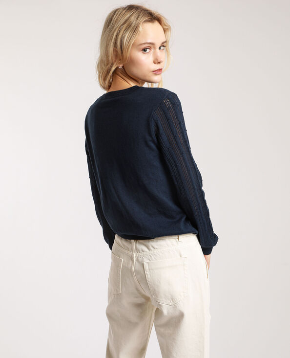 Pull maglia fantasia blu marino