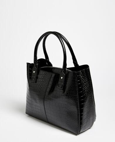 Grande borsa shopping effetto coccodrillo nero