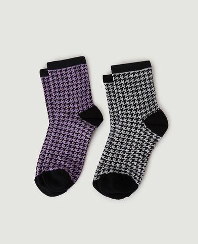 Lotto di 2 paia di calzini con motivi pied-de-poule viola - Pimkie