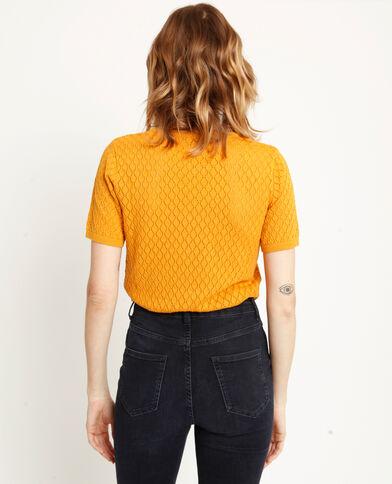 Top in maglia traforata giallo