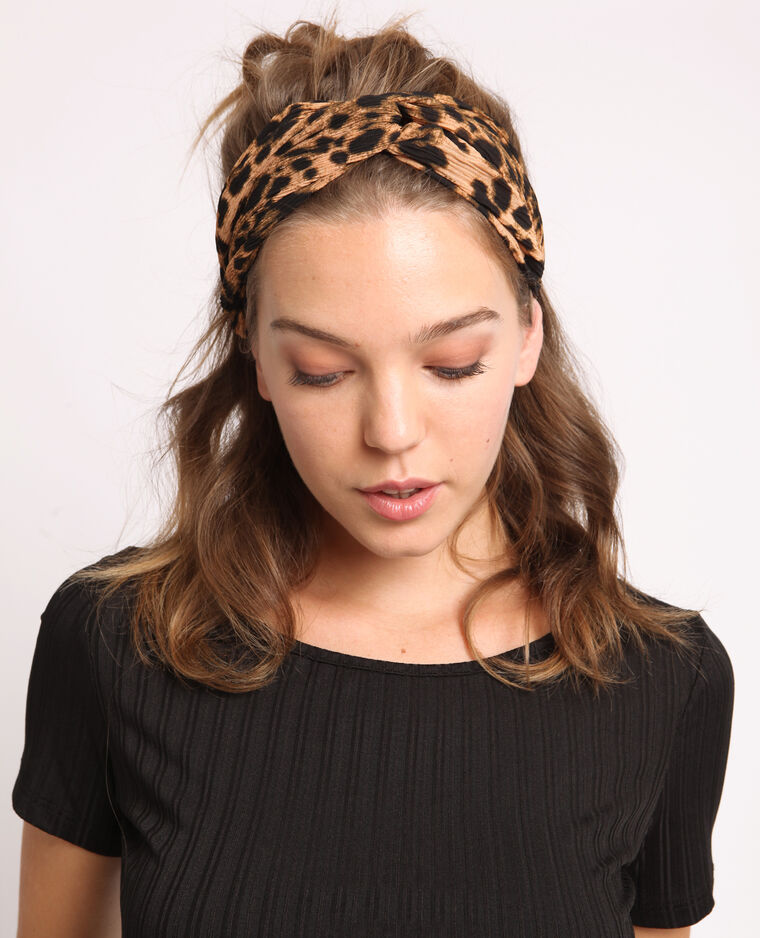 Headband leopardata marrone