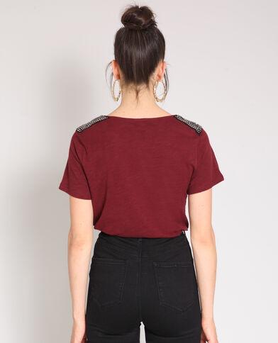 T-shirt a perle bordeaux