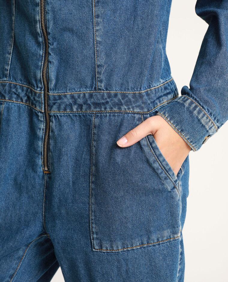 Abito pantalone in jeans blu denim