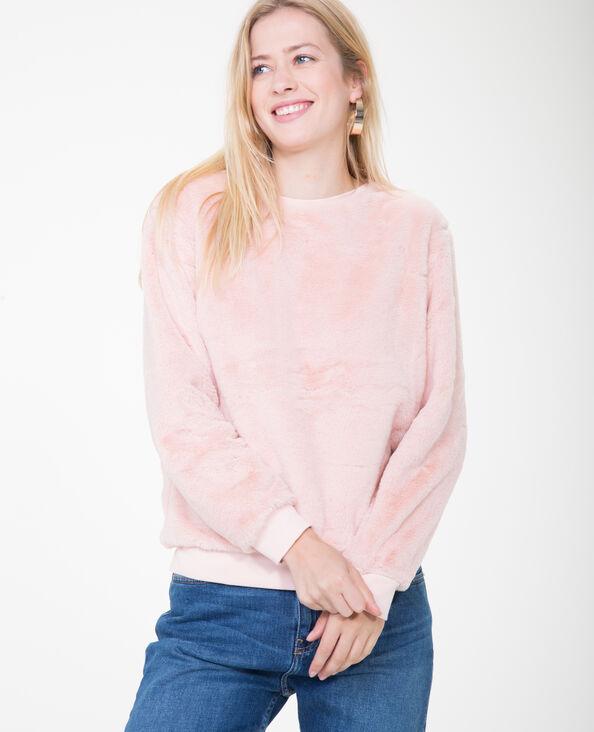 Felpa in pelliccia ecologica rosa