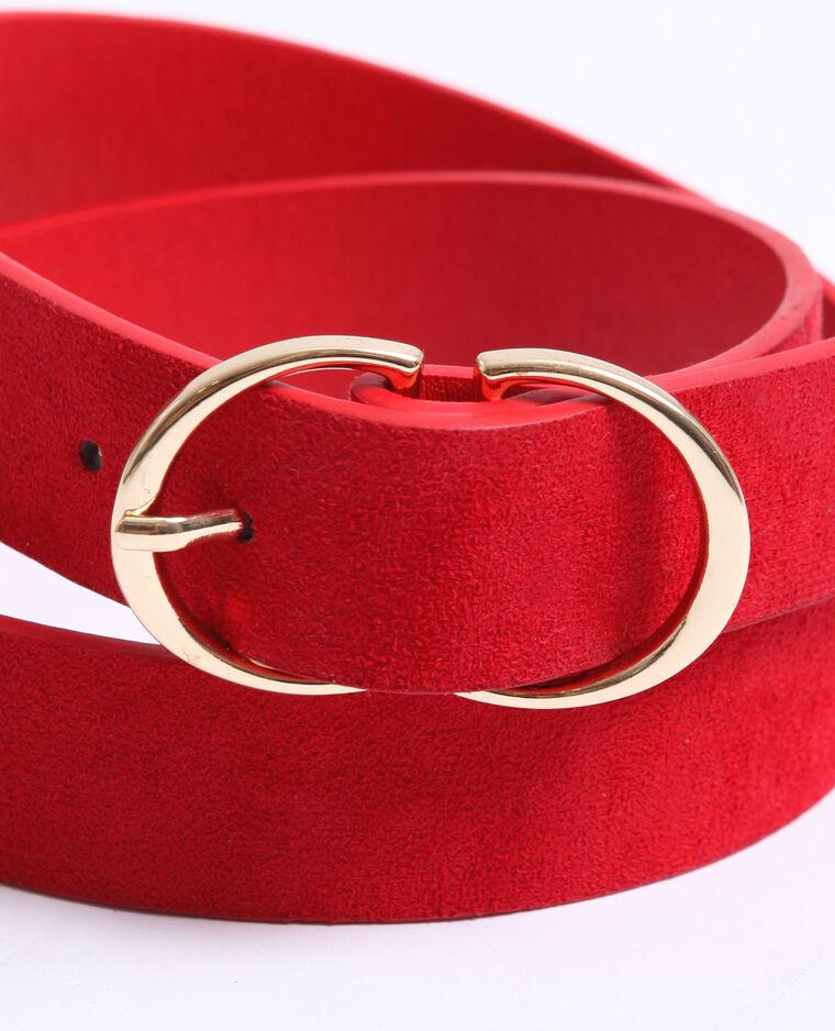 Cintura effetto pelle scamosciata rosso