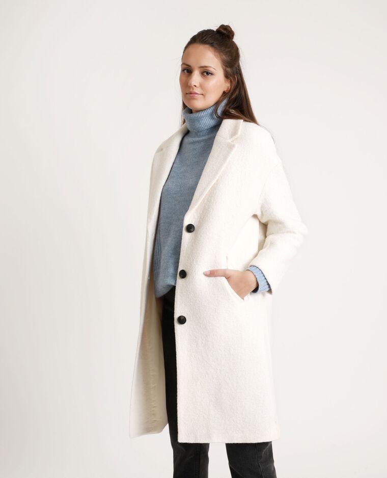 Cappotto lungo con lana bianco sporco - Pimkie