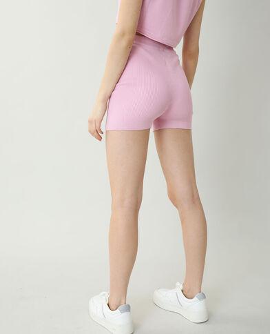 Pantaloncini corti in stile ciclista rosa