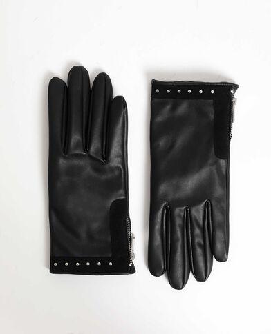 Guanti in finta pelle con borchie nero