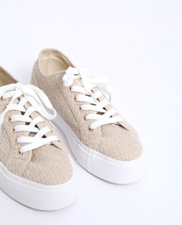 Scarpe sportive con suola spessa beige