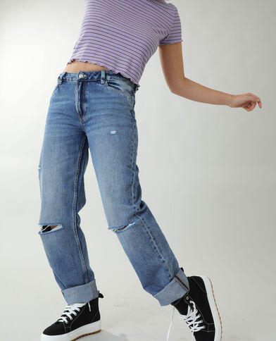 Jeans straight high waist blu denim - Pimkie