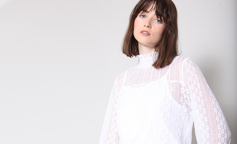 Blusa in pizzo bianco