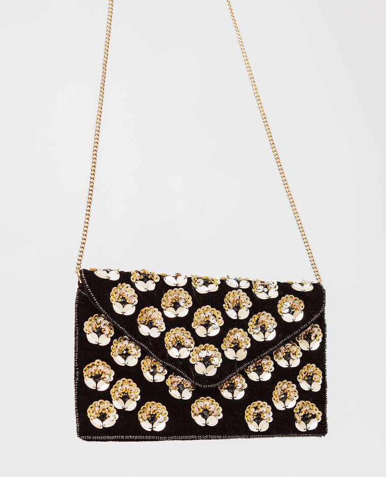 Borsa pochette a fiori. nero