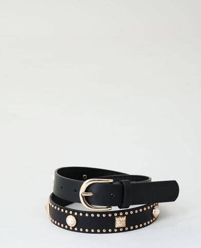 Cintura con borchie e perle nero - Pimkie