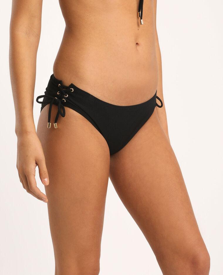 Pezzo sotto di bikini con laccetti nero