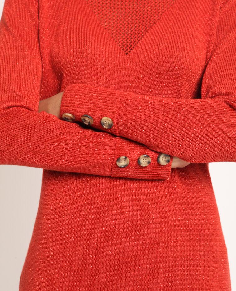 Abito pull con paillettes rosso