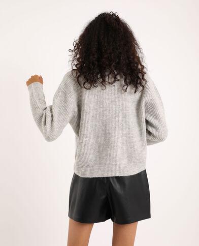 Cardigan intrecciato grigio chiaro chiné