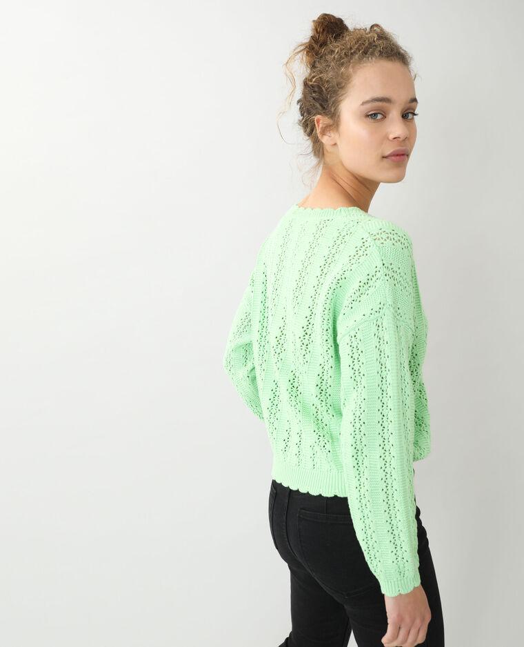 Cardigan in maglia traforata verde