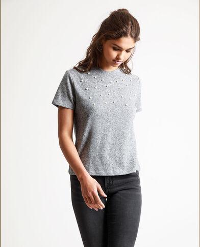 T-shirt a perle grigio chiné