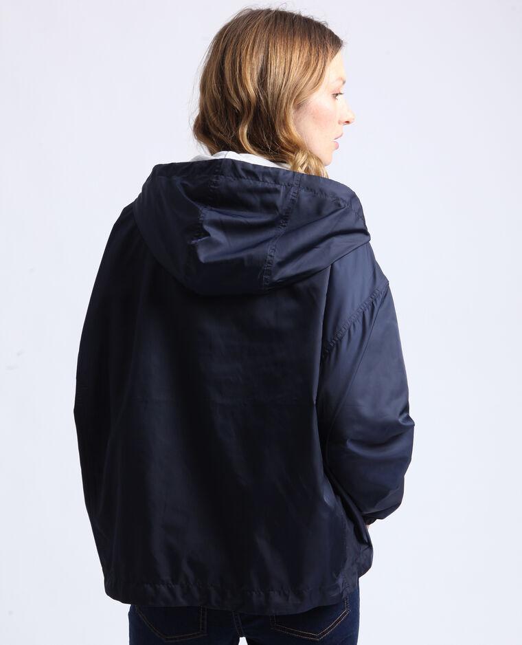 Giacca a vento con cappuccio blu scuro