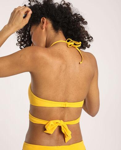 Pezzo sopra del bikini da annodare giallo