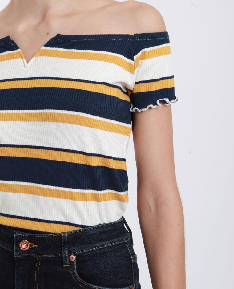 T-shirt con piccolo collo a V giallo