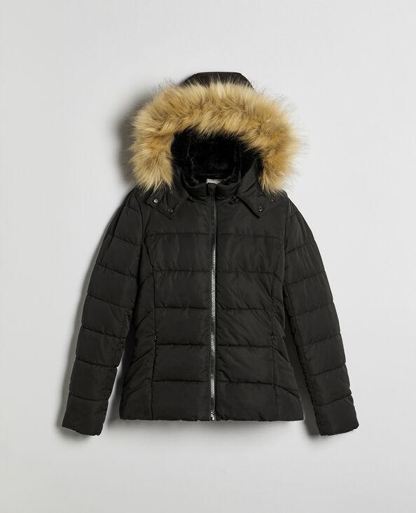 Piumino con pelliccia ecologica nero