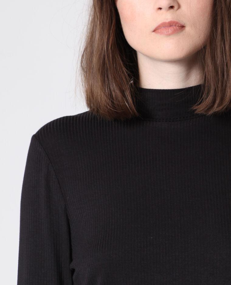 T-shirt con collo alto nero