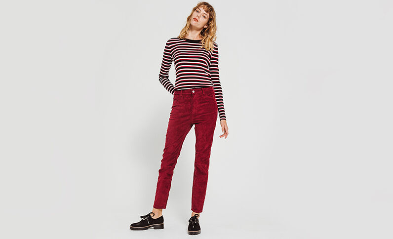 Pantalone skinny velluto bordeaux