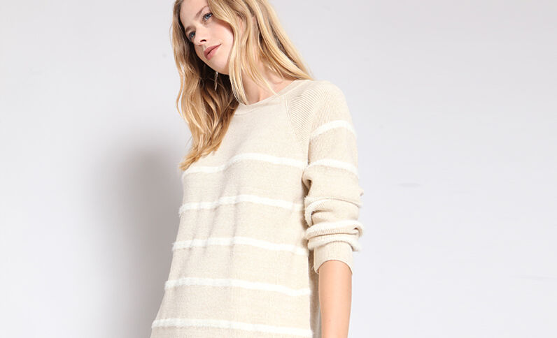Pull a righe beige