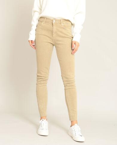 Pantalone skinny ricamato beige