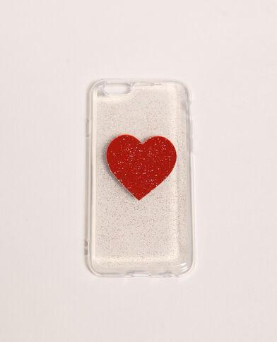 Custodia trasparente compatibile con iPhone rosso