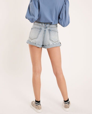 Short in jeans destroy blu delavato