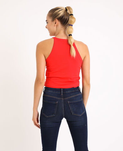 Top cropped con spalline rosso