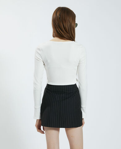 T-shirt effetto velluto bianco sporco - Pimkie
