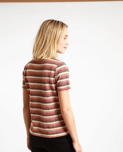 T-shirt a righe marrone
